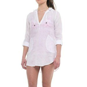 Forcynthia Beachwear Cover Up Tunic Top White S